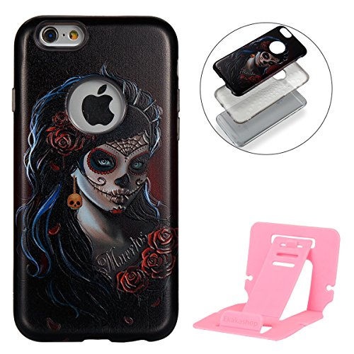 iphone 6S plus Silicone Cover, Custodia per iphone 6 plus Rigida, iphone 6S plus 5.5 pollici 2 in 1 Cover, Ekakashop Ragazza Serie Fashion Moda Sollievo Painting Colorato Pattern 3d Gel Silicone Gomma Pendente a scheletro