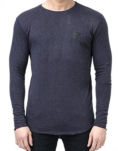Religion Herren Longsleeved abgerundetem Saum Logo-T-Shirt, Blau Navy