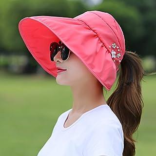 H-M-STUDIO Summer Sunshade capanti-Ultraviolet Sun capbrim Sunscreen capfoldable air-top Cool Cap,B,Watermelon Red
