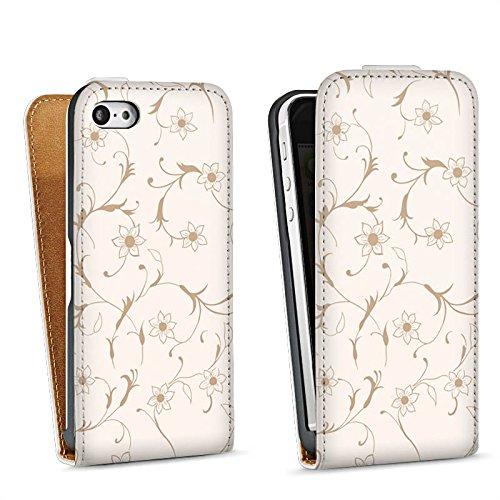 Apple iPhone 5s Housse étui coque protection Fleur Fleurs Fleurs Sac Downflip blanc