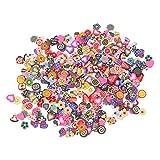 SUPVOX 1000 pezzi di arte del chiodo Fimo fette di frutta Fimo Fette di caramelle di fiori per la decorazione artigianale di melma (frutta + torta + cuore + fiore di prugna + farfalla)