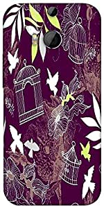 Snoogg Birds And Bird Cages Seamless Pattern Designer Protective Back Case Cover For HTC M8