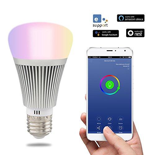 sonoff 6W E27LED Smart Wi-Fi LED, dimmerabile luce, fino a 16milioni di colori, controllabile tramite app, compatibile con Alexa e Google Home. Argento