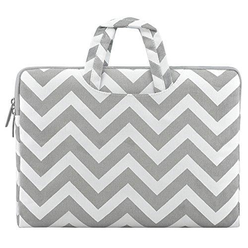 MOSISO Tasche Sleeve Hülle Kompatibel 13-13,3 Zoll MacBook Pro, MacBook Air, iPad Pro 12,9 Zoll Chevron Stil Canvas Gewebe Laptoptasche Kasten mit zusätzlichem Stauraum Schutzhülle, Grau (2 In 1 Laptop Hp Pavilion X360)