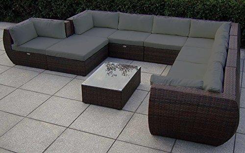 Baidani 13b00019.91001 Rattan Garten Lounge Garnitur, braun, 400 x 310 x 67 cm