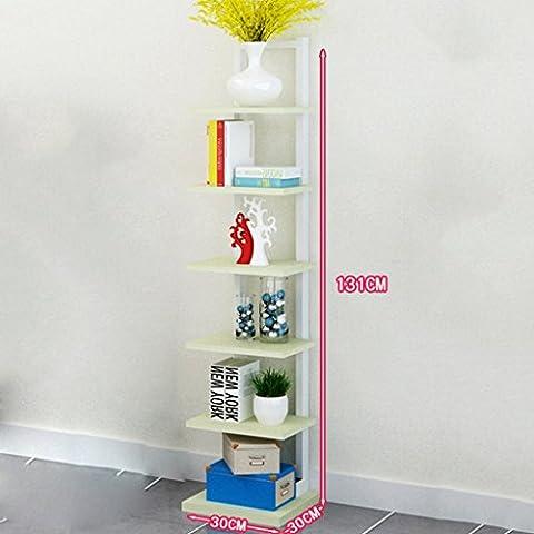Steel Wood Bookcase Partition Shelf Simple Modern Living Room Storage Rack Bedroom Child Bookshelf Landing ( Color : White maple-A