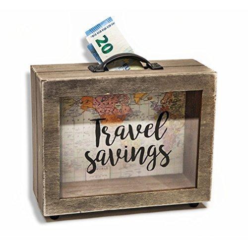 Spardose in Kofferform mit Weltkarte