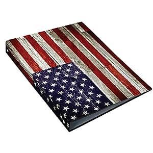 USA- Classeur 24x32cm cartonné - Flag vintage - 4 anneaux - Dos 4 cm