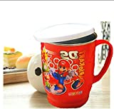 #10: Kp tulip kids fun unbreakable hot insulated double wall plastic stainless steel tea,coffee /milk mug with lid for kids and adults