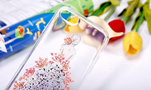 Coque iPhone 7,Étui iPhone 7,iPhone 7 Case,ikasus® Coque iPhone 7 Silicone Étui Housse Téléphone Couverture TPU avec Coloré Pressé Vraies Fleurs Secs Bling Glitter Sparkle Girl Fleur Robes Modèle Ultr Rose