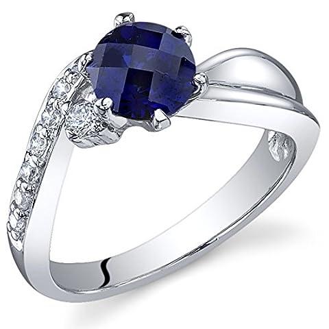 Revoni Damenring 925 Sterlingsilber Saphir blau-1.25 Karat Größe 54