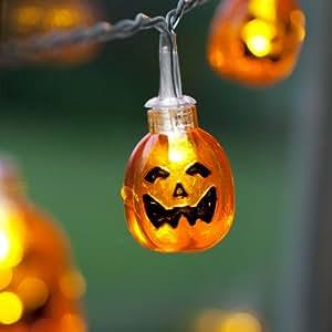 Guirlande Lumineuse Halloween à Piles avec 10 Citrouilles LED par Lights4fun