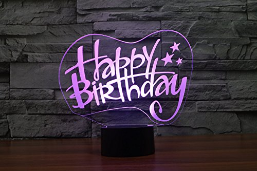 Optische Täuschung 3D Geburtstagskarte Nacht Licht 7 Farben Andern Sich USB Adapter Touch Schalter Dekor Lampe LED Lampe Tisch Kinder Brithday weihnachten Geschenk