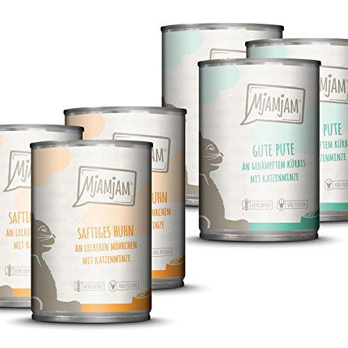 MjAMjAM - Premium Nassfutter für Katzen - Monopaket I - mit Huhn und Pute, 6er Pack (6 x 400 g), getreidefrei mit extra viel Fleisch