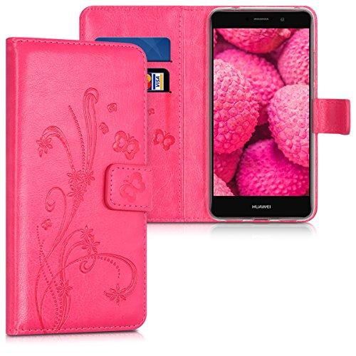 kwmobile Hülle für Huawei Y7 / Y7 Prime - Wallet Case Handy Schutzhülle Kunstleder - Handycover Klapphülle mit Kartenfach und Ständer Ranken Schmetterling Design Pink