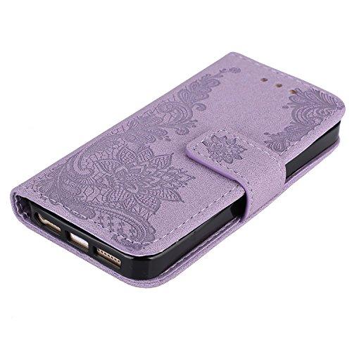 BtDuck Cover per iPhone 5S / iPhone SE / iPhone 5,Glitter Luccichio Modello Ultra Slim Cover Portafoglio Stile Semplice Flip Magnetica Custodia Pelle per iPhone 5S / iPhone SE / iPhone 5 Morbido Silic iPhone 5 5S SE-Viola