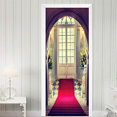 CHUANMT Papel Pintado Mural de Pared 3D 90x210cm Alfombra roja arqueada Tridimensional para decoración...
