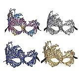 Limeo Mascara de Encaje Azul Mascara de Encaje Máscara de Encaje Negro Máscara de Mascarada de Encaje Media Mascara Máscara de Ojo Atractiva de Las Mujeres Máscara de Encaje Plata (4 en total)