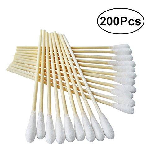 Frcolor Appliqués à coton avec poignées en bois Applicateur à bout en coton, 6 po, paquet de 200