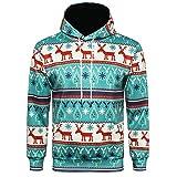 Xmiral Weihnachten Hoodies Herren Bedruckte Pullover Langarm Kapuzenshirt Tops (M,B)