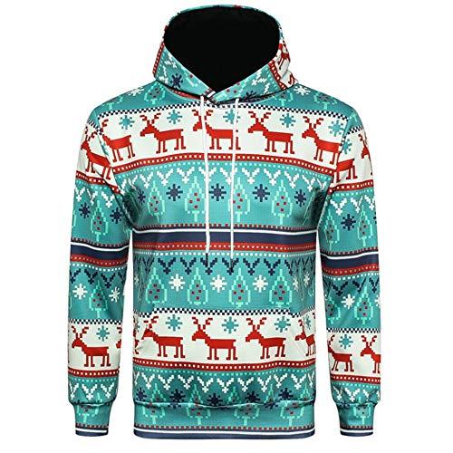 Xmiral Weihnachten Hoodies Herren Bedruckte Pullover Langarm Kapuzenshirt Tops (3XL,B)
