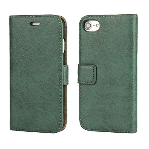 """MOONCASE iPhone 7 Étui, Bookstyle Portefeuille Housse en PU Cuir rabat PC Case avec Béquille Magnétique pour iPhone 7 (4.7"""") Vert Vert"""