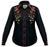 Modestone Women's EmbroideBlack Long Sleeved Fitted Western Hemd Rose Black S