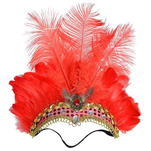 Für Flapper Kostüm Red Erwachsenen - Fliege MÄNNER Weihnachten Haarschmuck Benutzerdefinierte Federschmuck Maskerade Weihnachten Europa und Amerika Retro Straußenfeder Kopfschmuck (Color : Red)