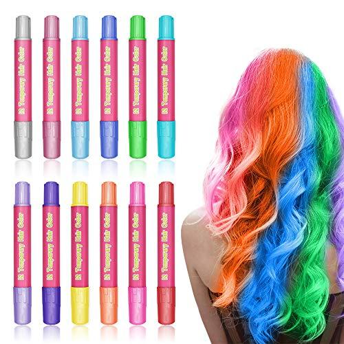 Temporär Haarfarbe Kreide Stifte Kinder, WAWJ 12 Color Haarkreide für Mädchen,Non-Toxic Haarfarben,Hair Chalk für Geburtstag,Weihnachten,Kindertag & Party Cosplay