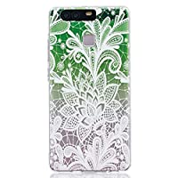 Huawei P9 Case [with Free Tempered Glass Screen Protector], BoxTii® Shock Absorption Elegant TPU Silicone Cover, Transparent Design Slim Fit Anti-Scratch Protective Back Case Cover Shell for Huawei P9 (#6 Green)