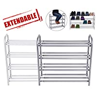 GEMITTO 4 Layers Extendable Shoe Organiser Rack Heavy Duty Shoe Stand Storage Rack Coated Painted Silver Grey 60-106 x 22.5 x 61.5cm