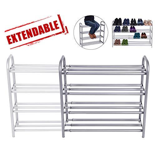GEMITTO Zapatero de Extensible 4 Niveles Zapatero de Acero Apilable y Extensible Shoe Rack de Metal...