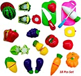 Babytintin Pretend Food Kitchen Play Set for Kids Cutting Fruits and Vegetables Play Food Kitchen Toys 18 Piece Educational Toy