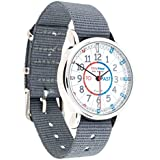 EasyRead Time Teacher Children's Watch, 'Minutes Past' & 'Minutes To', Red, Blue, Grey Face / Grey Strap