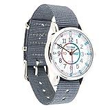 EasyRead Time Teacher Kinderuhr, Lernen, die Uhrzeit auf Englisch anzugeben mit Minuten nach und Minuten vor der vollen Stunde, Rot-blau-graues Zifferblatt / Graues Armband