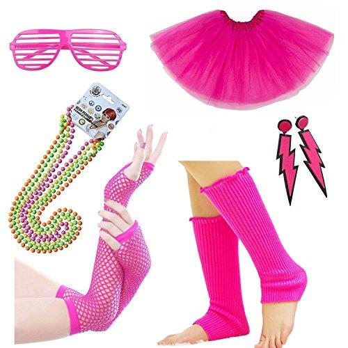 iLoveCos 80er Night Out Party Kleid Zubehör Neon Erwachsener Tutu,Beinwärmer,Fischnetz Handschuhe,Blitz Ohrringe,Fluoreszierende Perlen Halsketten,Sonnenbrille 1980s Mädchen Frauen Fancy ()