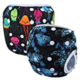 Storeofbaby 2pcs Reusable Washable Baby Swim Diapers with Adjustable Snaps (Pack of 2)
