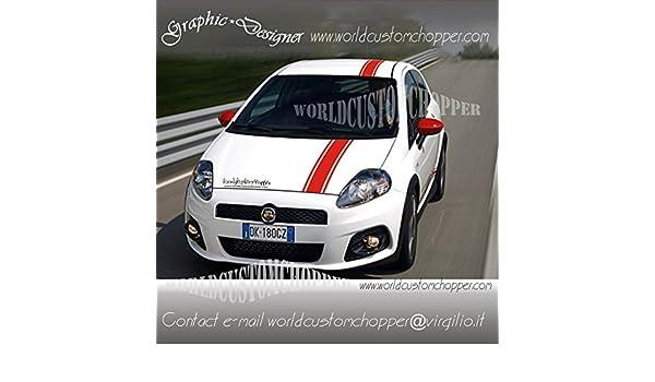 3 FASCE ADESIVE FIAT GRANDE PUNTO TETTO COFANO SPORT ABARTH EVO RACING TUNING ORO