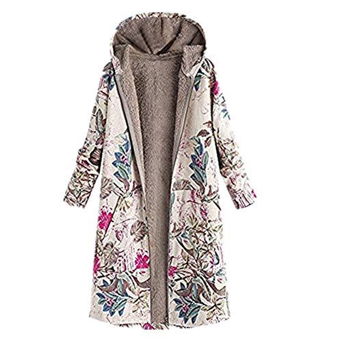 Winter Bequem Mantel Lässig Mode Jacke Frauen Womens Winter Warm Outwear Blumendruck Mit Kapuze Taschen Vintage Oversize Mäntel ()