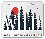 Not All Who Wander are Lost Mouse Pad, Wild Letters in The Forest with Moon Birds, Standard Size Rectangle Non-Slip Rubber Mousepad, Night Blue Vermilion and White