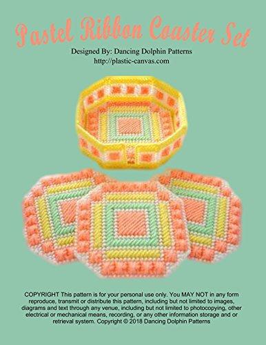 Pastel Ribbon Coaster Set: Plastic Canvas Pattern (English Edition)