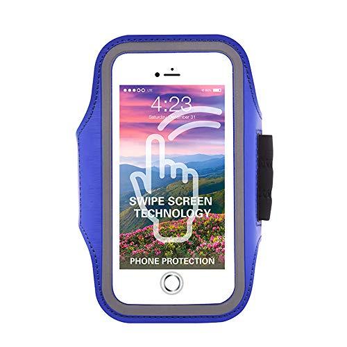 HPADR Sportarmtasche Sport Arm Gürtel Fingerabdruck Entsperren Handy Arm Paket Mit Tauchmaterial 5.5 Zoll Blau