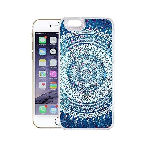 finoo | Iphone 6 Plus / 6S Plus Flüssige Liquid Blaue Glitzer Bling Bling Handy-Hülle | Rundum Silikon Schutz-hülle + Muster | Weicher TPU Bumper Case Cover | Elefanten Schaukel Hase Kringel Henna 1