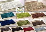 Teppich Metallic Shaggy alle Räume Badteppich Badematte Duschvorleger Badvorleger (ca. 70x120 cm, Creme)