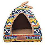 LvRao 2 in 1 Hundehaus Multifunktional Haustierhaus Hundehütte Katzenbett Zelte Gestalten Faltbar Hundekissen (Retro, L (48*48*40cm))