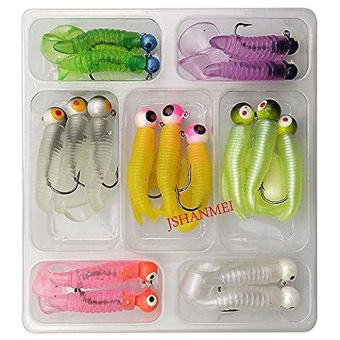 jshanmei® Soft Angelköder Set Schwanz Grub Wurm lockt und Jig Head Haken Gummiköder Shads Pesca Angeln Köder Tackle Kit, 17pcs/set Soft Lure Kit