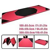 CCLIFE Tragbar Faltbar Gymnastikmatte Weichbodenmatte Yogamatte Turnmatte Fitnessmatte Klappmatte Klappbar 300x120x5/240x120x5/180x80x5 cm Rose + Schwarz Großauswahl, Größe:300x120x5cm