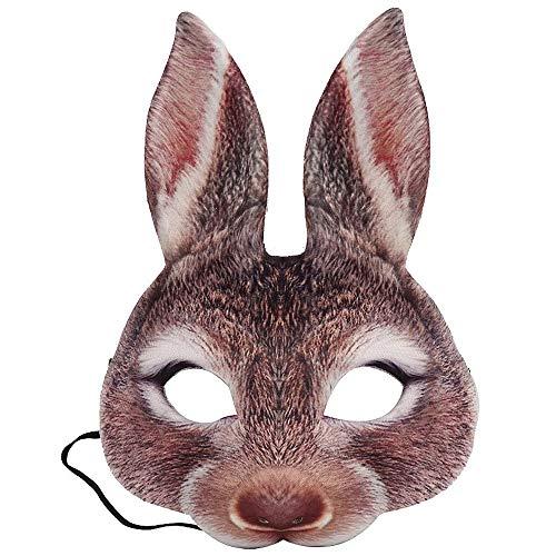 Kaninchen Kostüm Brown - BODOGY-KB Halloween Maske Kostüm Party Tierkopf Maske Kaninchen Halbe Gesichtsmaske Für Kostüm Fancy Dress Party Halloween,Braun