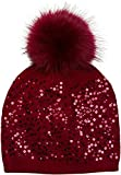 styleBREAKER Feinstrick Bommelmütze mit Pailletten und abnehmbarem Kunstfell Bommel, Fellbommel Mütze, Damen 04024134, Farbe:Bordeaux-Rot