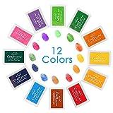 Almohadillas de Tinta Luxebell 12 Colores Cojín de Tinta / Cojines Llavables de la Tinta con 12 Pequeños Caja Independiente, Buen Regalo para los Niños